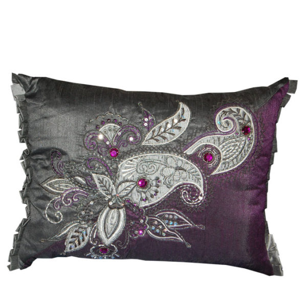 Aubergine and Silver Sequin Paisley Small Cushion