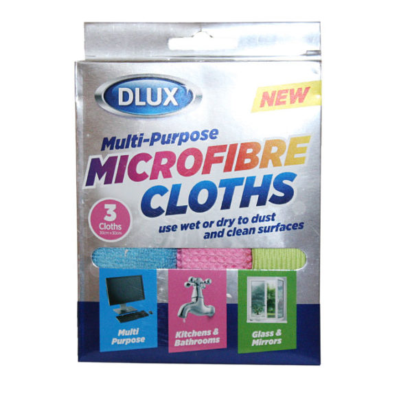 D-lux Microfibre 3 Piece Cloths- Multi Colours