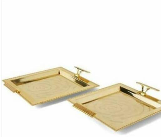 2 piece Elegant Opalina Tray- Gold