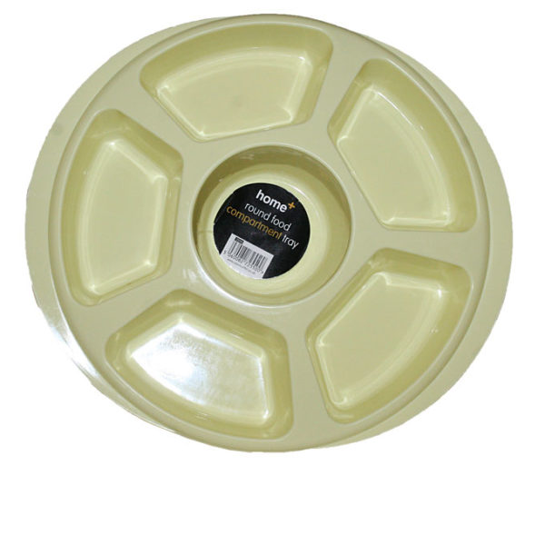 Round Compartment Tray- Yellow
