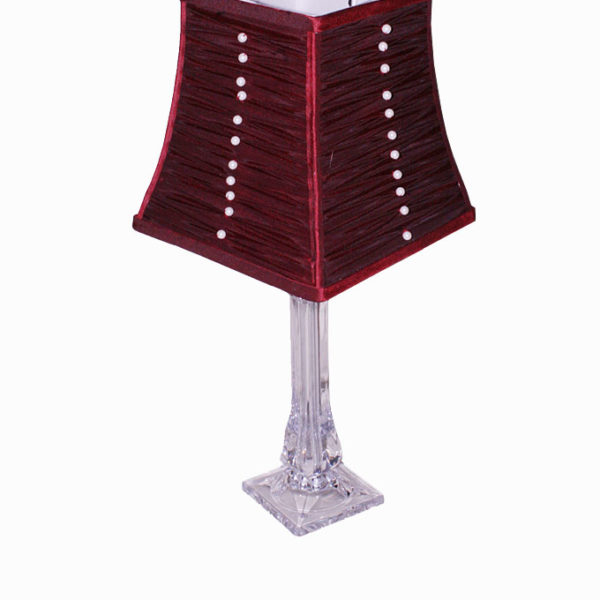 Balmoral Acrylic Table Lamp with Pleated Red Shape