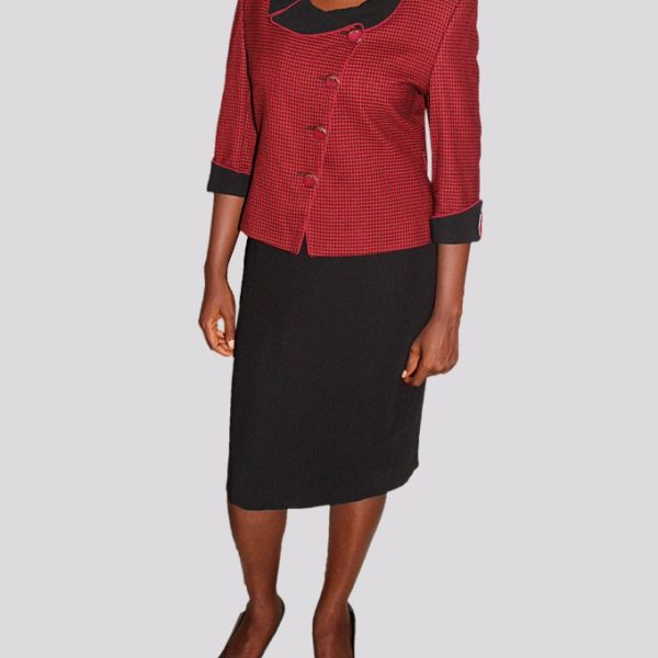 Atamond Red and Black Combination Ladies Dress