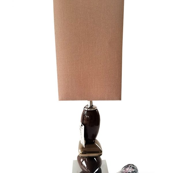 Chocolate Peable Table Lamp With Mocha Shade