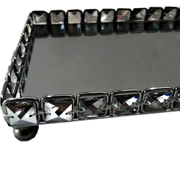 Cimc Square Mirror & Smoked Glass Crystal Tray