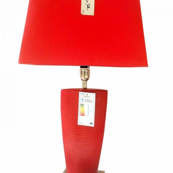 Hot Chilli Red Bahama Small Table Lamp with Red Shape