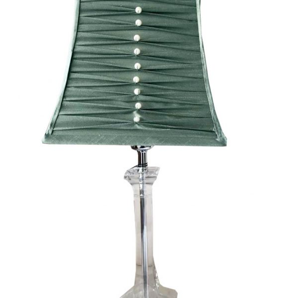 Balmoral Acrylic Table Lamp with Pleated Duck Egg Shape