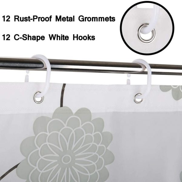 200cm*200cm Clear PEVA Shower Curtain With 15pcs Hooks - 03